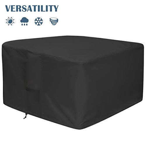 IVYSHION Large Fire Pit Cover Waterproof Windproof Anti-UV Heavy Duty Rip Proof 600D Oxford Fabric Outdoor Garden Patio Heater Cover Water Resitant Fire Pit for Outdoor Fire Pit Table Cover