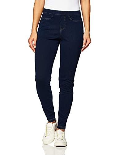 No Nonsense Women's Plus Size Classic Indigo Denim Jean Leggings, Dark, 2X