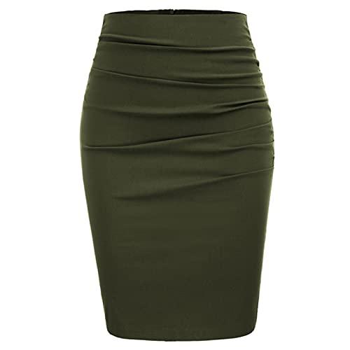WQZYY&ASDCD Falda De Tubo Bolso De Color Sólido Retro para Mujer Falda A La Cadera Falda Corta Pantalones Profesionales XL Verde Militar