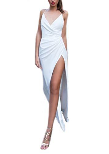 HuanHaoYu Abendkleider Damen Bodycon Kleider Einfach Hochzeitskleider Schräg Geöffnete Gabel Asymetrisch Ballkleider Maxikleider Einfarbig Weiß (Weiß,S)