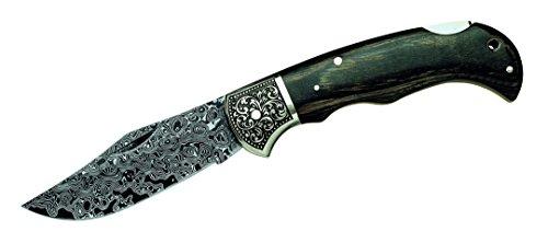 Herbertz Damast-Taschenmesser,49 Lagen,Pakkaholz,Neusilberbacken