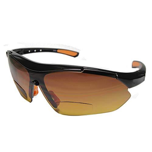 Aloha Eyewear Daredevil Mode Bifokalwillen Reader Sonnenbrillen Wrap-Around Sport und Anti-Glare (Schwarz + Orange W/Bernstein +.00) 3 70 3 Schwarze und orange W/Bernstein Objektiv