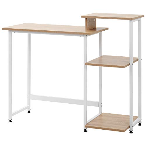 Computer Desk Writing Desk with 3 Tier Storage Shelves Desk Table with Bookshelf Laptop Table with Steel Frame for Small Spaces Home Office Workstation (Natural)