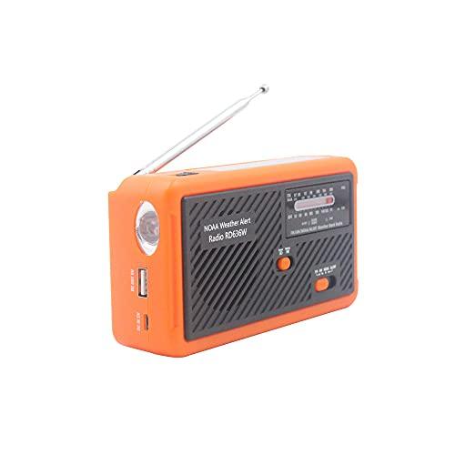 AnAnmei Radio de emergencia, banco de energía portátil con carga solar, manivela de mano y funciona con pilas, alarma SOS, AM/FM y linterna LED para emergencia al aire libre