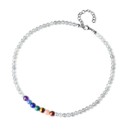 coai Unisex Geschenkideen Glückskette Choker Halsketten aus Labradorit und 7 Chakra Yogakette Tibetische Gebetskette