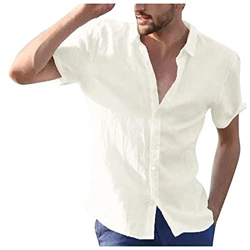 Kobilee Camisa de lino de manga larga para hombre, corte ajustado, para verano, otoño, para el tiempo libre, D-blanco., M