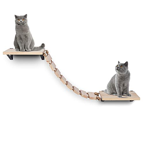 Purife Handcrafted Wooden Cat Wall Steps Stairs - Wall Mounted Cat Climbing Shelves, Cat Wall Perch, Cat Wall Bridge Ladder Cat Climber Tree Shelf, Cat Wall Furniture Cat Hammock Bed