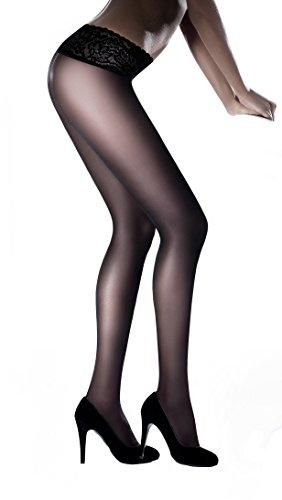 Marilyn modische, semi matte Hüftstrumpfhose mit komfortablem Spitzenhüftband und Flachnähten, 30 Denier, Größe 42 (XL), Farbe Schwarz (nero)