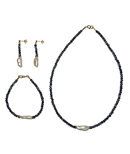 ByAriadna. Hecho a mano. Collar, pulsera y pendientes mujer en plata ley 925 con baño de oro, piedras naturales y perla barroca cultivada. Azul Marino