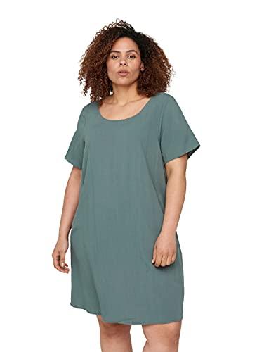 Zizzi Große Größen Damen Kurzarm Kleid aus Viskose Gr 54-56 Grün