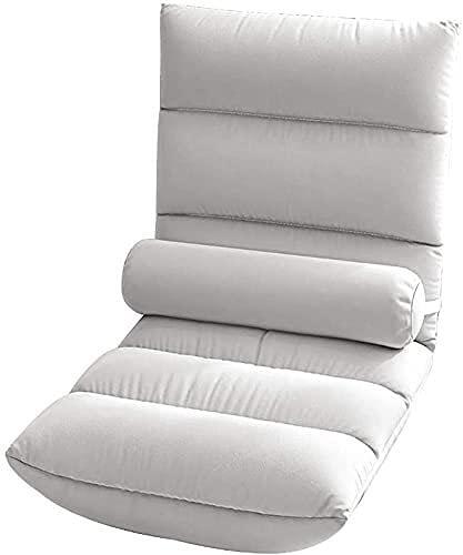 Silla acolchada con soporte para la espalda, almohada ajustable de 6 posiciones, silla de juegos, sofá de meditación, silla de terciopelo de tela para juegos para adultos y niños (color gris)