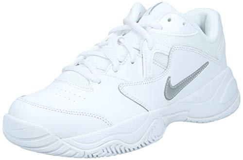 Nike Women's Court Lite 2 Tennis Shoe, White/Metallic Silver-White, 8.5 Regular US