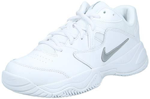 Nike Women's Court Lite 2 Tennis Shoe, White/Metallic Silver-White, 9 Regular US