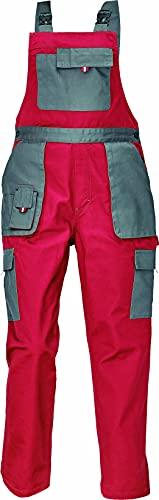 DINOZAVR Max Evolution Damen Latzhose - Modern Muster Multi-Taschen Strapazierfähige Arbeitshose - Rot/Grau 40