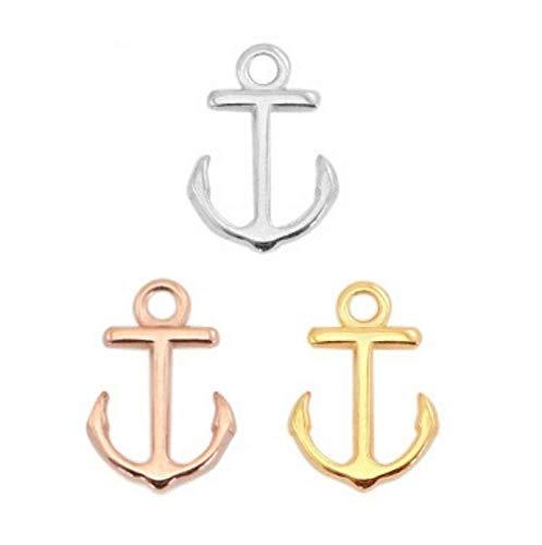 Sadingo Anker Charms voor armbanden - 3 stuks - 15 x 10 mm (elk 1x goud, zilver en roségoud) - armband DIY