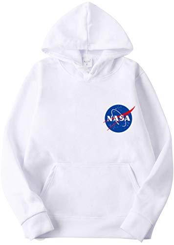 EMILYLE Homme Sweat à Capuche NASA Pull Imprimé Espace Galaxie Logo Aéronautique Hoodie Geek, Petit Logo Blanc 3XL
