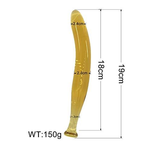 HZS 7,48 Inch Gelb Aubergine Transparent Kristallglas Phallus for Männer und Frauen EIS Feuer G-Punkt-Stimulation Selbst Comfort Massage Verschiedene Reize T-Shirt