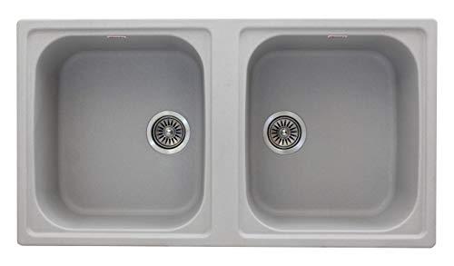 ZINZER Plain Smooth Matt Finish Granite/Quartz Kitchen Sink - Double Bowl (39 x 21 x 8 inch, Matt Grey )