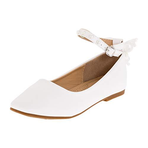 Dorémi Festliche Kinder Mädchen Ballerinas Schuhe für Kommunion Hochzeit Party Freizeit M481ws Weiß 34 EU
