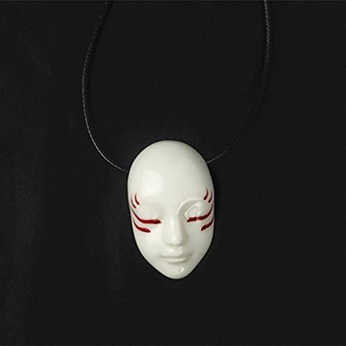 LYWER Collana in Ceramica in Stile Giapponese Fatto a Mano in Pupazzi di Porcellana spirituali per allontanare Il Male e strani Facce di Coppia Pendenti di Coppia Uomini e Donne Regali ( Color : A )