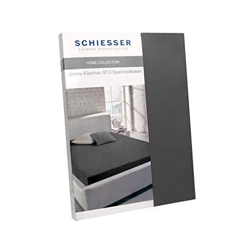 Schiesser Spannbettlaken / 97% Baumwolle 3% Elasthan/in versch. Farben & Größen erhältlich, Farbe:anthrazit, Größe:150 cm x 200 cm