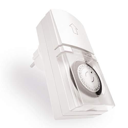 Zeitschaltuhr Aussenbereich – IP44 Zeitschaltuhr einfach zu bedienen, besonders robust – mechanische Zeitschaltuhr regelt weihnachtlichen Lichterglanz automatisch