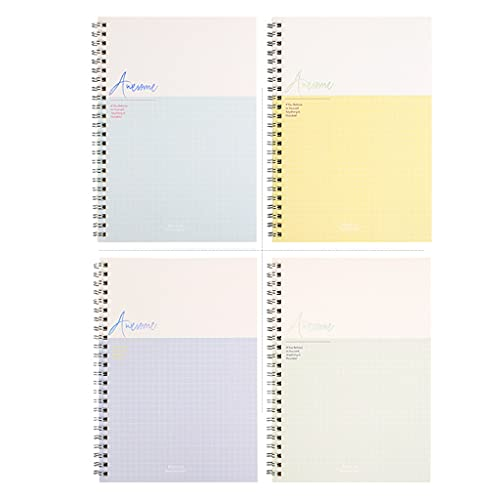 yangdan HF - Cuaderno A5 (4 piezas, 60 hojas, línea horizontal, papel grueso, papelería, papelería, cuaderno de dibujo (color: E)
