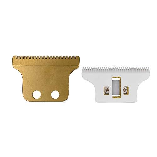 AIRERA Double T Wide Cuchillas #2215 para Detailer Wahl 8081, ensamblado 1 cuchilla fija de acero al carbono con 1 cuchilla móvil de cerámica, compatible con Wahl 5 Star Detailer(Dorado)