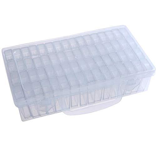 Xinlie Caja de Almacenamiento de Plástico con 64 Compartimentos Plásticas de Organizadores Extraíble Caja de Bordado de Diamante 64 Ranuras Transparente Compartimentos para Bordado de Diamantes