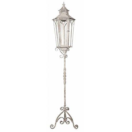 L'Héritier Du Temps Grote lantaarn, zeshoekig, op voet, staande lamp, kandelaar, voor binnen, buiten, ijzer, grijs, 27 x 27 x 140 cm
