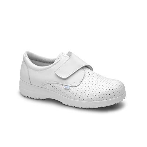 Feliz Caminar - Zapatos antiestáticos Sigma con Inserto en el talón y Plantilla antiestáticas Que evitan chispazos/Antideslizante para Hospital, Geriátricos/Anatómicos(Blanco-37)