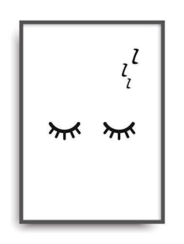 ALEMARG Moderner Vintage Poster Druck Sleepy Eyes Fine Art Kunstdruck Deko Bild Print Plakat ungerahmt DIN A4 Geschenk
