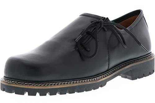 Vista Damen Herren Haferlschuhe Trachtenschuhe Echtleder schwarz, Größe:43, Farbe:Schwarz