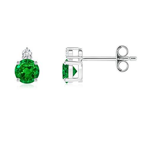 Pendientes redondos de esmeralda con diamante (esmeralda de 4 mm)