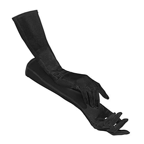 PartyXplosion Damen Handschuhe Elegante ca. 52 cm lange Satin Handschuhe Karneval (12074), Schwarz, One Size
