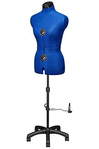 Deubl Schneiderpuppen Damen verstellbar Majestique Blue Multi (Gr.S/36-42) 8-teilig komplett einstellbar, 4-Bein Fuß, Rockabrunder, Rückenlängenverstellung, Schneiderbüste mit Beinansatz