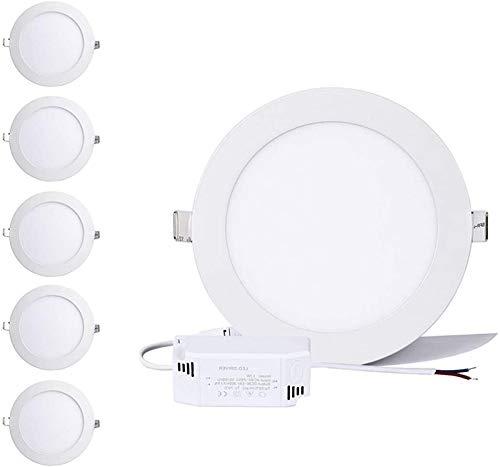 Greenclick - Juego de 5 focos LED redondos de 9 W, 220 V, 720 lúmenes, equivalente a 60 W, luz LED de techo, panel LED, empotrables (9 W, 3000 K)