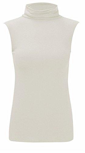 WearAll - Damen Rollkragen Elastisch Ärmellos Unterhemd Bodycon Top - Crème - 36-38