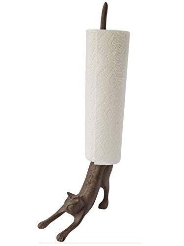 """Yoga Cat Decorative Paper Towel Holder or Toilet Paper Holder by Comfify - Adorable """"Downward Dog"""" Pose Kitty- Cast Iron Paper Towel Stand - Antiqued Cast Iron Storage - Multiple uses - 19"""" tall."""
