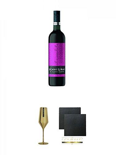 Scavi & Ray Al Cioccolata Rosso Prestigio 0,75 Liter + Scavi & Ray Momento d'Oro Prosecco Gold Glas 0,1L 1 Stück + Schiefer Glasuntersetzer eckig ca. 9,5 cm Ø 2 Stück