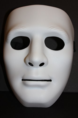Mask Full Face Plastic Plain Costume Party Dance Crew for Hip Hop Dance/Opera White