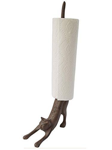 Comfify Yoga Katze - Dekorativer Papierrollenhalter oder Toilettenpapierhalter - Bezaubernde Herabschauender Hund Pose - Gusseisener Papierrollenständer