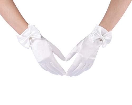 CHIC DIARY Damen Satin Handschuhe Weiß Kurz Hochzeit Brauthandschuh mit Schleife Handschuhe Fasching Party Kostüm Accessoires