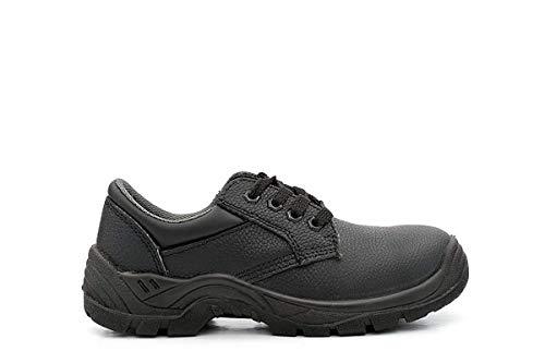 Unisex Cuero Negro Acolchado Cuello Comodidad Seguridad Zapatos - Negro, 4 UK