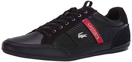 Lacoste Men's Chaymon Sneaker, Black/Red Lace Up, 10 Medium US
