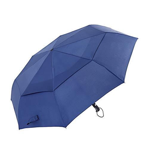 Paraguas de golf plegable de 48 pulgadas, abierto automático, multifunción, impermeable, resistente al viento, con función automática, fácil de abrir y cerrar, doble tela repelente al agua.