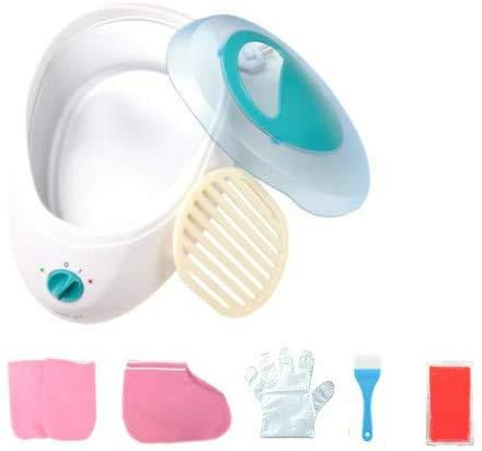 Baños de Parafina Cera Calentador de Parafina para Manos y Pies Máquina de Cera de Parafina, Baño de Parafina Rápido incluye Parafina Guantes Booties parafina+100 guantes plastico(Azul)