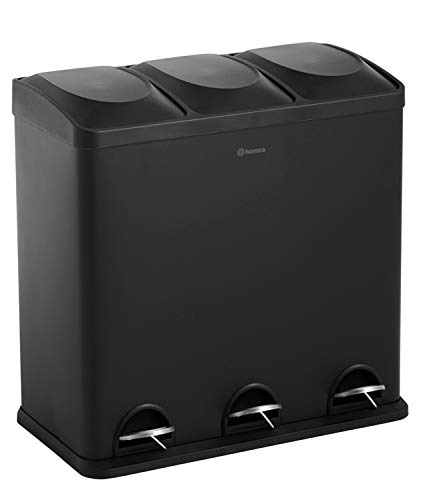 Homra Abfalleimer mit Fußpedal - 3-Fach (3x20L) Mülltrennsysteme 60 Liter - einzigartig matt grau/schwarz, Hochwertiger Edelstahl Maxer (matt Schwarz)