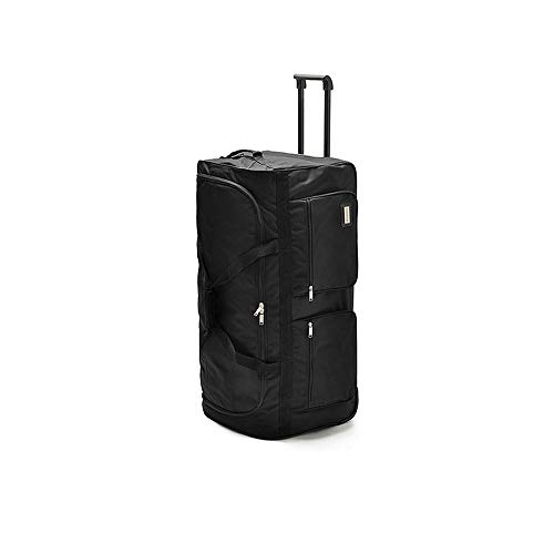LRHD Portable 3-wheeled Carry-on Luggage, 600D Oxford Cloth With Aluminum Alloy Tie Rod Luggage, 32-inch Waterproof Luggage Suitable for Many Airlines, Business Travel Gifts, Black