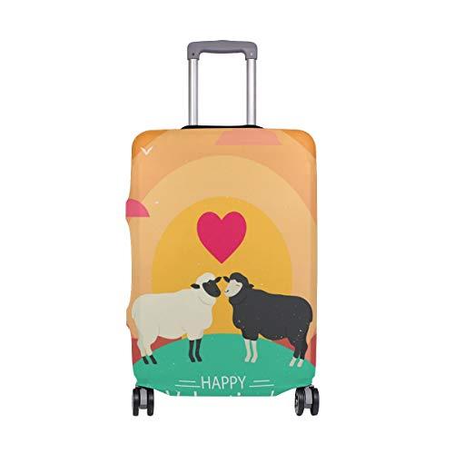ALINLO - Valigia da viaggio con scritta in inglese'Happy Valentine', con orso e pecora, ideale per San Valentino, da 45,7 a 81,3 cm